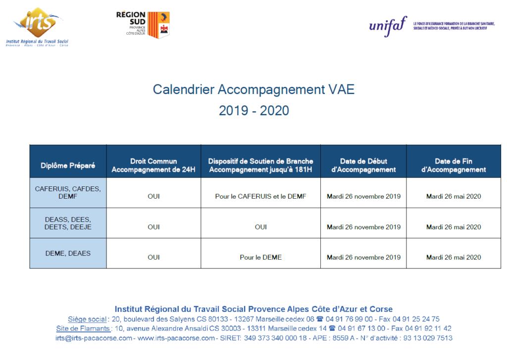 Calendrier Vae 2020.La Vae Irts Formations En Travail Social Provence